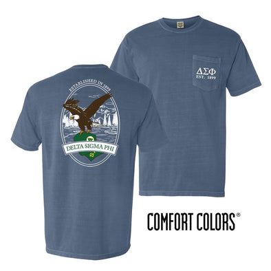 Delta Sig Vintage Blue Comfort Colors Eagle Tee