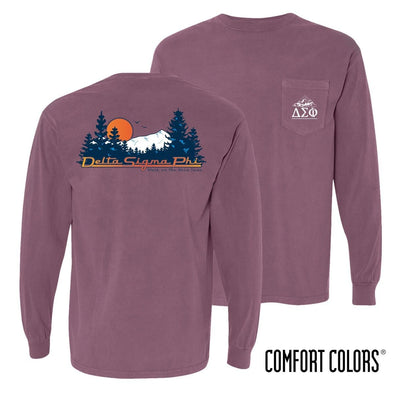 New! Delta Sig Comfort Colors Berry Retro Wilderness Long Sleeve Pocket Tee