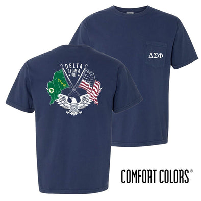New! Delta Sig Comfort Colors Short Sleeve Navy Patriot tee