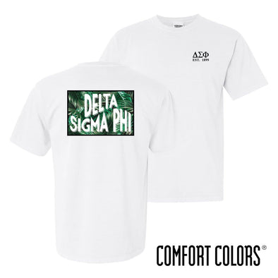New! Delta Sig Comfort Colors White Short Sleeve Jungle Tee