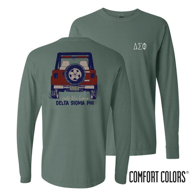 Delta Sig Comfort Colors Jeep Long Sleeve Tee