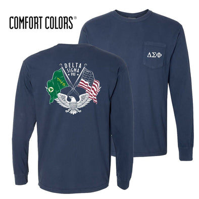 Delta Sig Comfort Colors Long Sleeve Navy Patriot tee