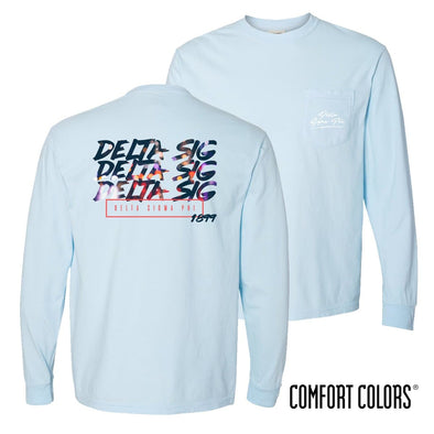 New! Delta Sig Comfort Colors Chambray Long Sleeve Urban Tee