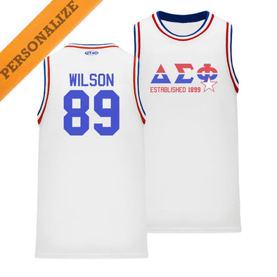 New! Delta Sig Personalized Retro Block Basketball Jersey