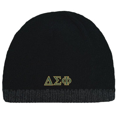 Sale! Delta Sig Black Knit Beanie with Fleece Lining