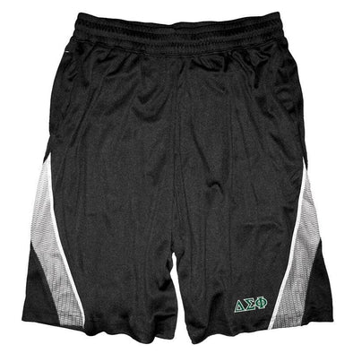 Clearance Priced! Delta Sig Black & White Pocketed Performance Shorts