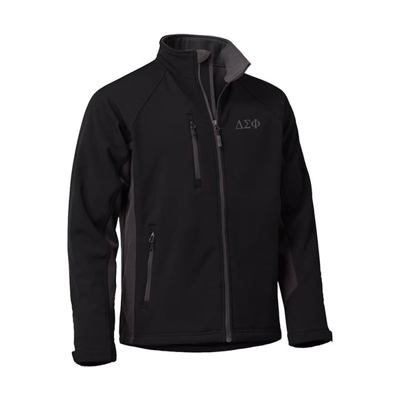 Clearance! Delta Sig Black and Gray Soft Shell Jacket