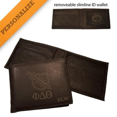 Sale! Phi Delt Personalized Leather Crest Wallet