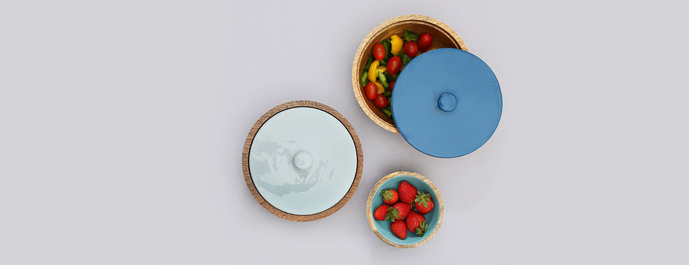 Wooden bowls and serveware with enamel