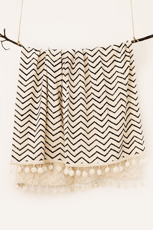 Chevron Blockprint Throw