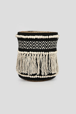 Jute Fabric Fringe Basket