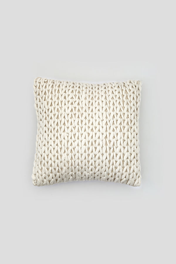 Knitted woolen cushion cover