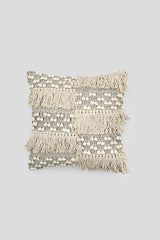 Beaded fringed cushion cover