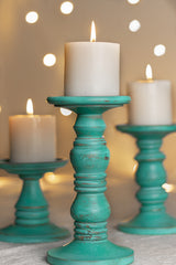 Laguna wooden candle stands (set of 3)