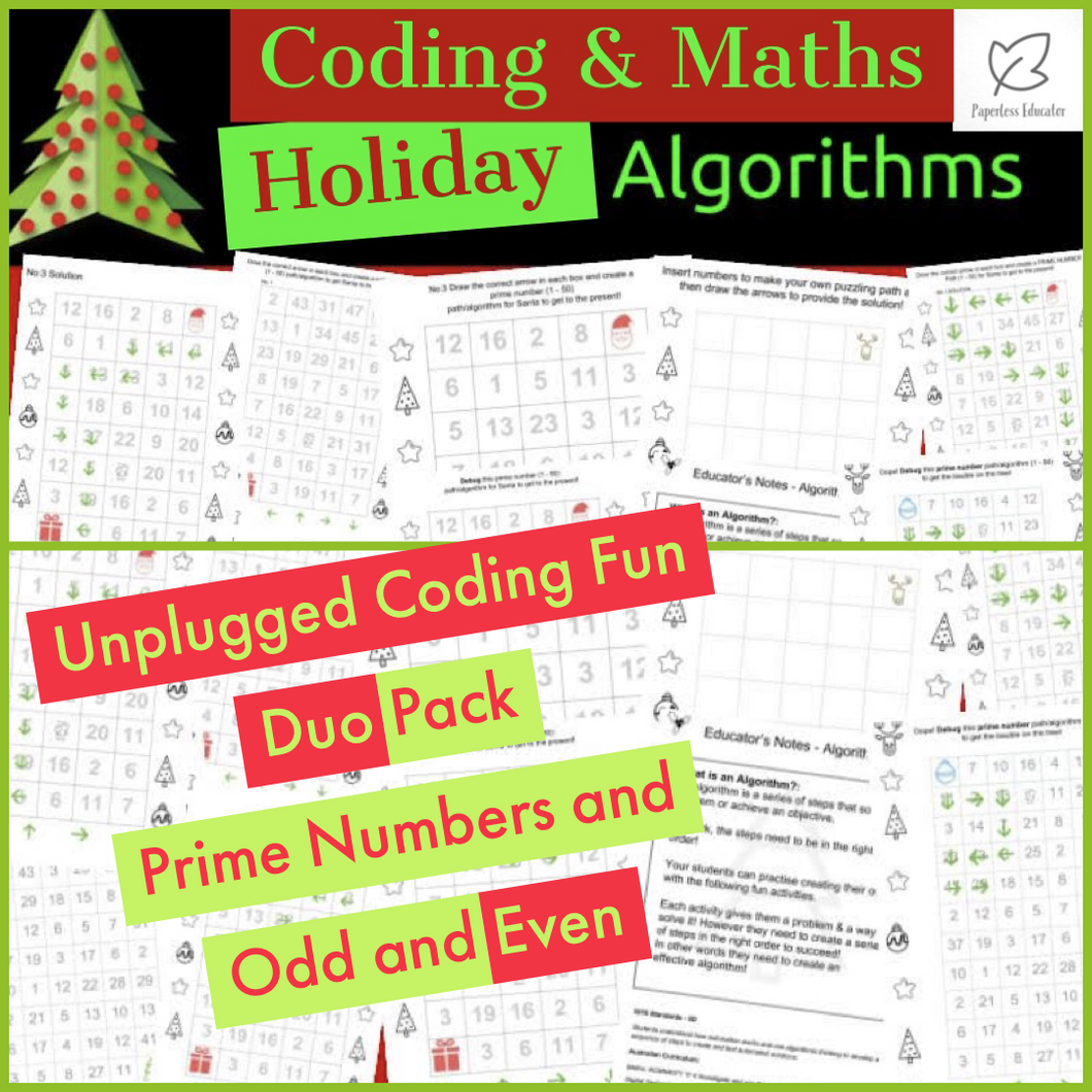 STEM Unplugged! Holiday Activity Pack, Algorithms, Prime Numbers, Odd & Even