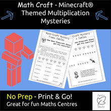 Load image into Gallery viewer, Maths FUN! Math Multiplication Mystery, Minecraft ® Themed Riddles