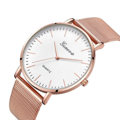 Fans' Mesh Rose Gold Watch.