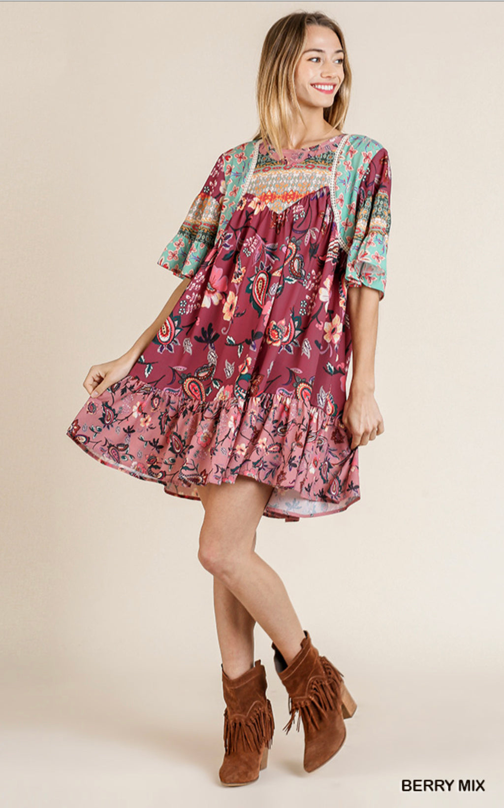 Berry Floral Mix Dress