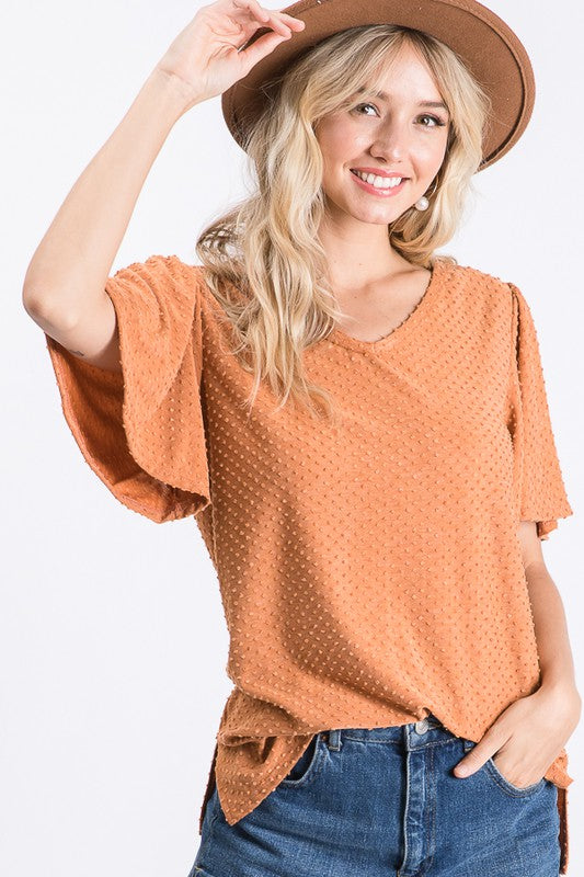 Rust Dot V Neck Top