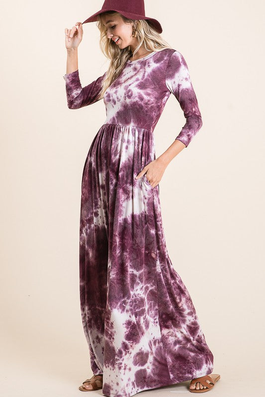 Burgundy Tie Dye Maxi Dress