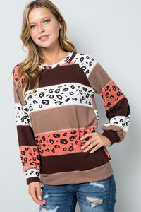 Brown Rust Leopard Top