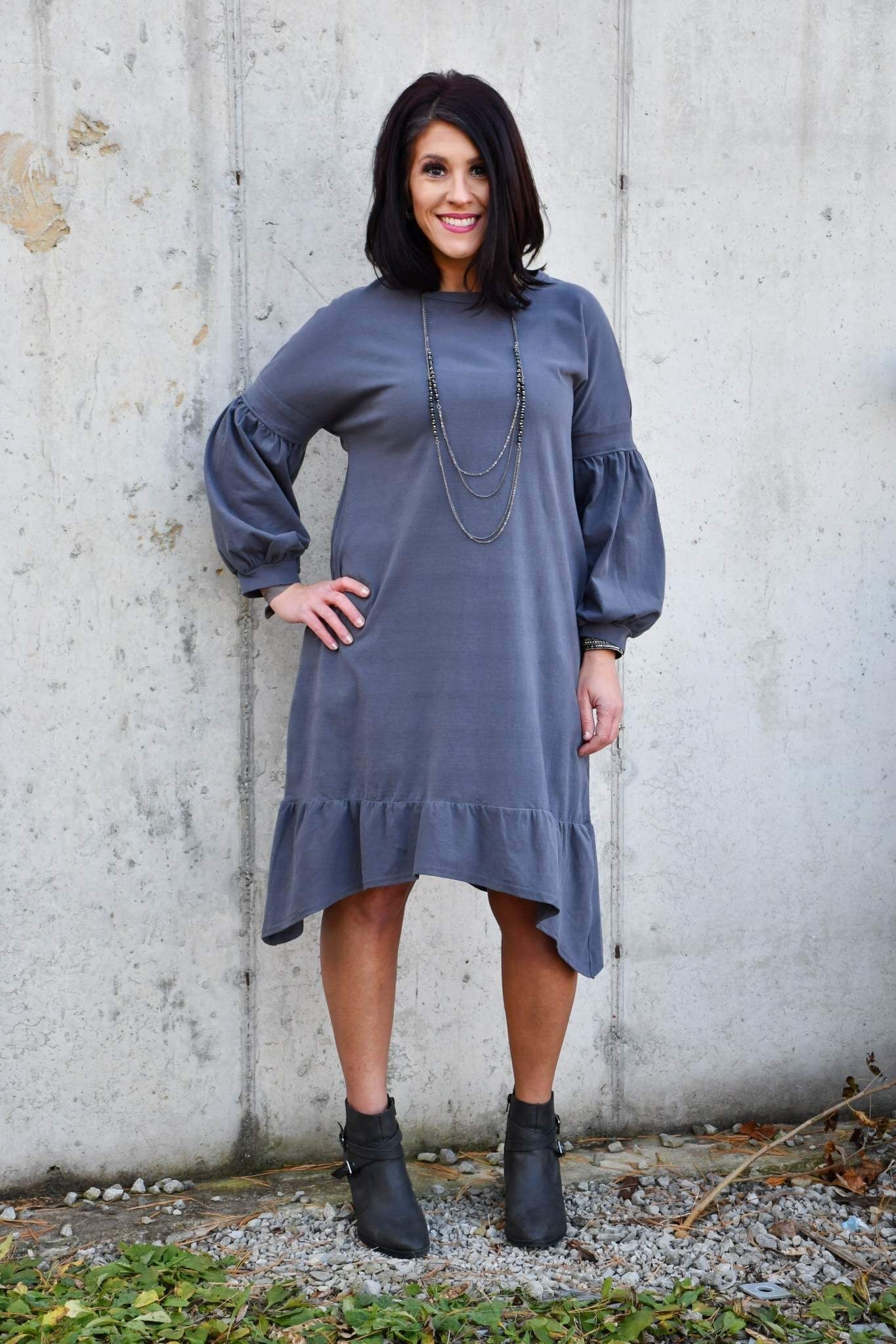 Slate Knit Dress Balloon Sleeve Ruffle Hem - Tallulah Rose Boutique