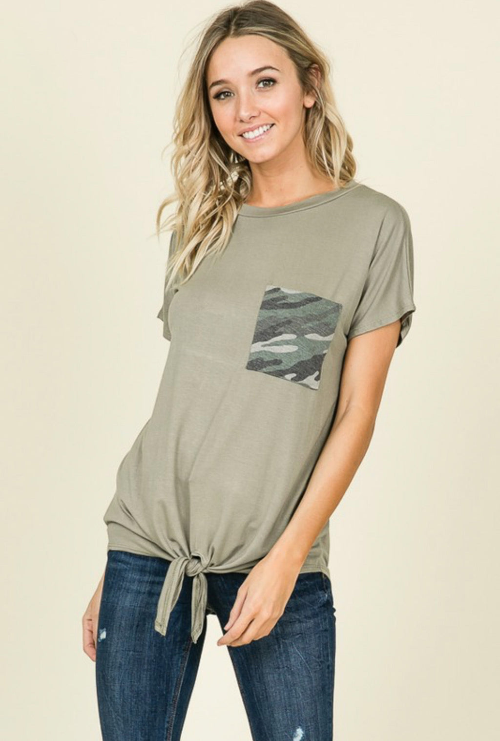 Olive Camo Pocket Top
