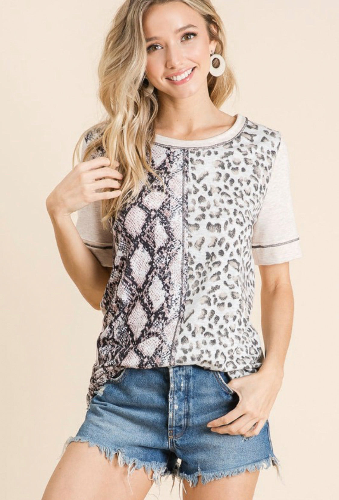 Blush Animal Print Top