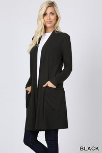 Black Slouchy Pocket Cardigan