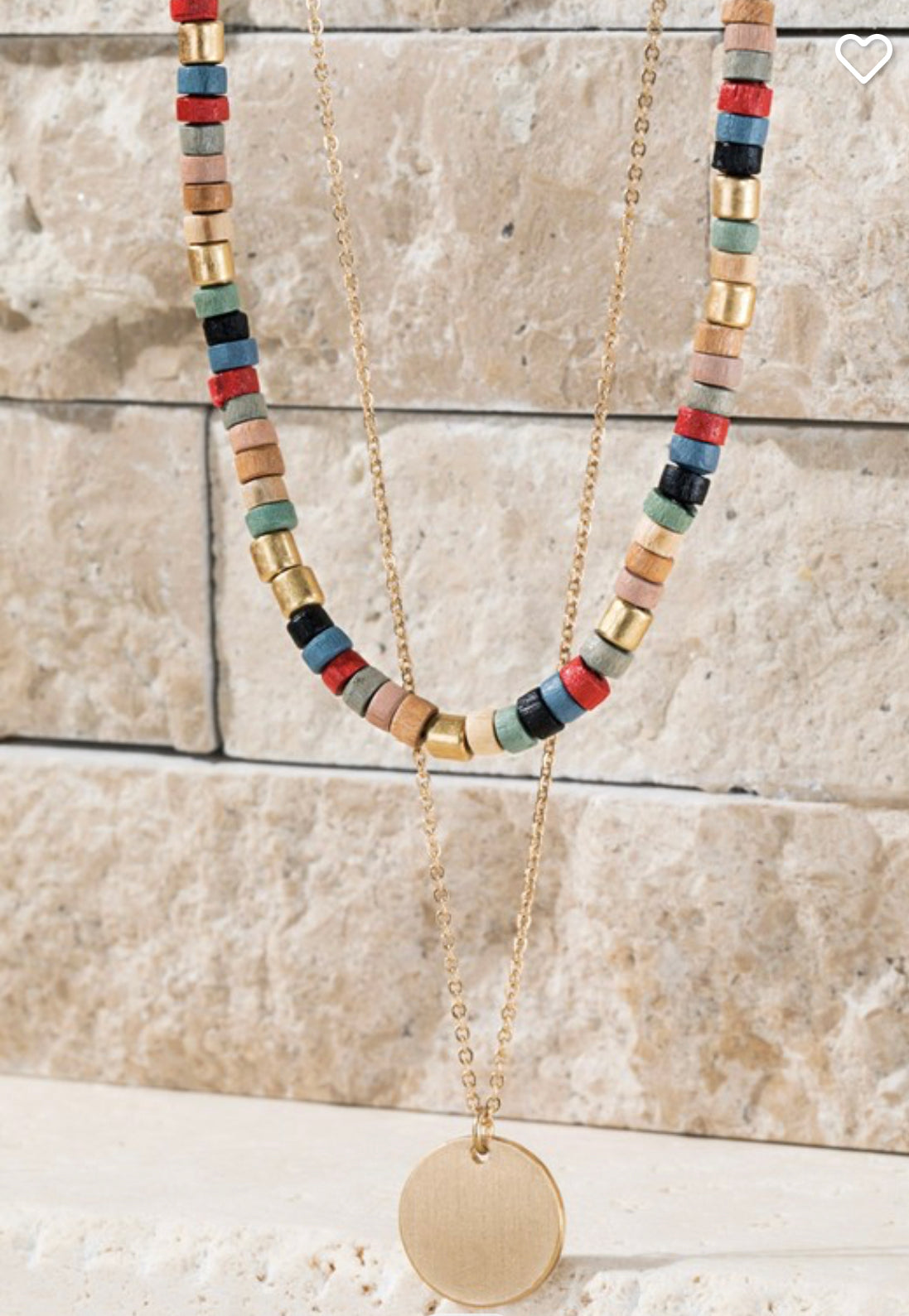 Double layered Wooden Necklace