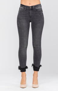Midnight Cuffed Fringe Jean