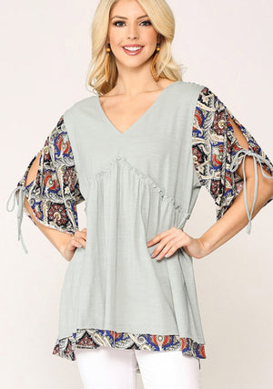 Light Gray V Neck Tunic