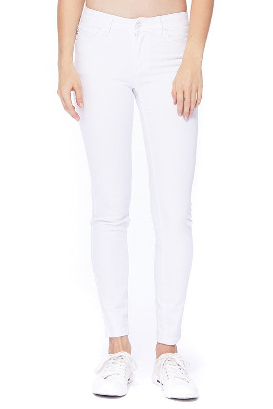 Judy Blue White Mid Rise Skinny Jeans - Tallulah Rose Boutique