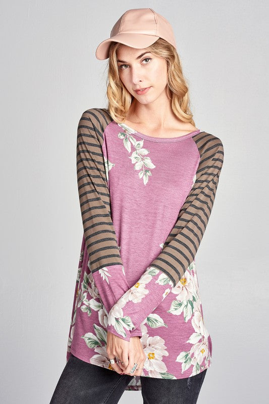 Mauve Floral Striped Raglan Sleeve Top