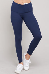 Navy HIgh Waist Yoga Band Leggings - Tallulah Rose Boutique