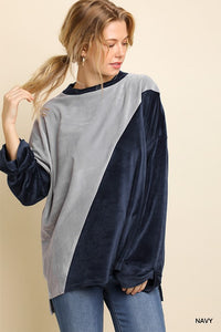 Velvet Colorblock Sweater Top - Tallulah Rose Boutique