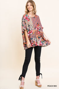 Oversized Mixed Peach Floral Print Top - Tallulah Rose Boutique
