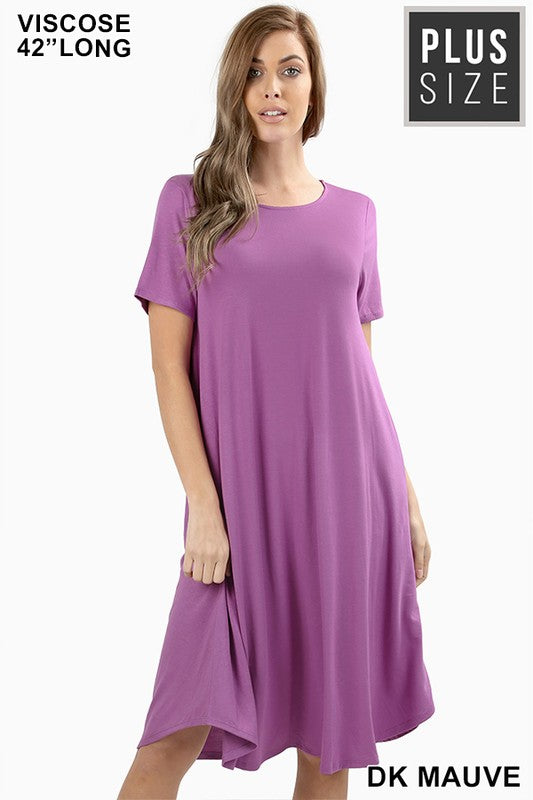 Short Sleeve Round Neck Plus Size Midi Dress - Multiple Colors - Tallulah Rose Boutique