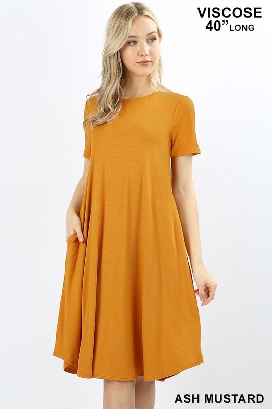 Solid Color Short Sleeve  Midi Dress W/Pockets Multiple Colors - Tallulah Rose Boutique