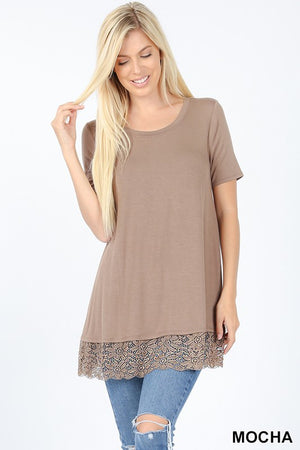 Short Sleeve Round Neck Top with Lace Bottom - Tallulah Rose Boutique