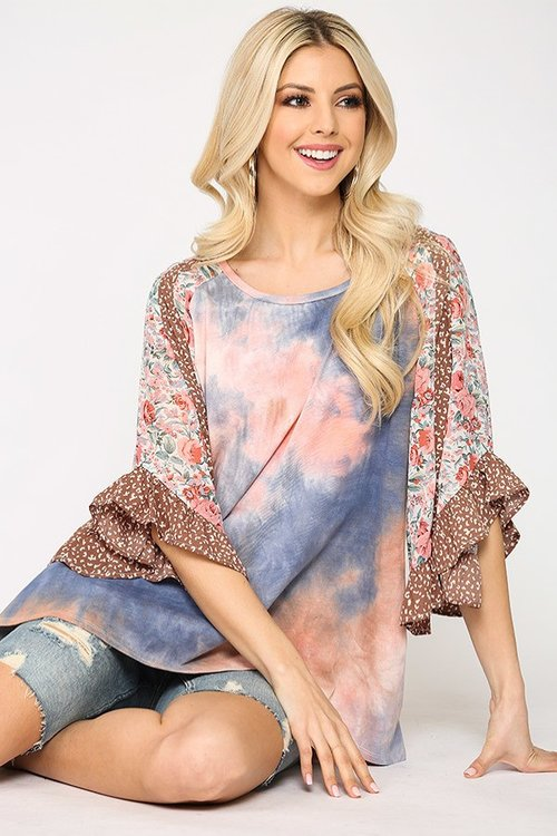 Coral Tie Dye Floral Mix Tunic Top