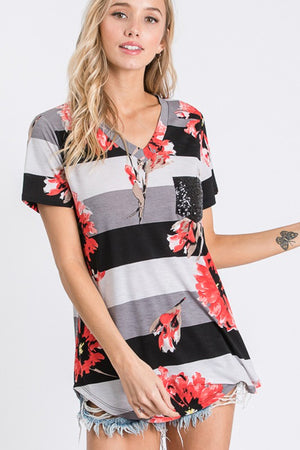 Black Stripe Floral Top with Sequin Pocket