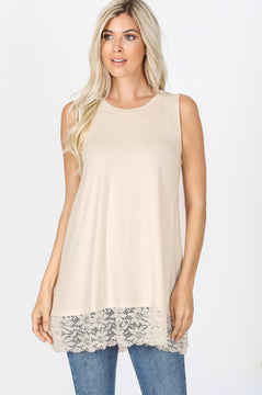 Sleeveless Lace Bottom Top