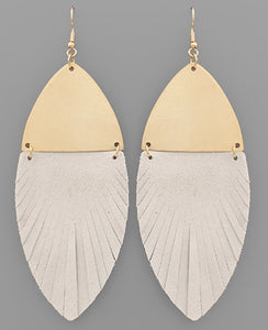 Metal & Genuine Leather Feather Earrings
