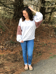 Faux Fur Sleeved Heather Top - Tallulah Rose Boutique