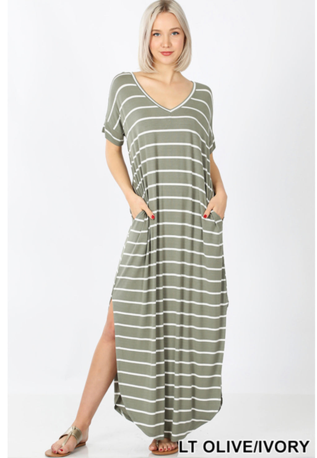 Stripe Maxi Dress with Pockets