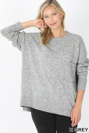 Melange High-Low Sweater