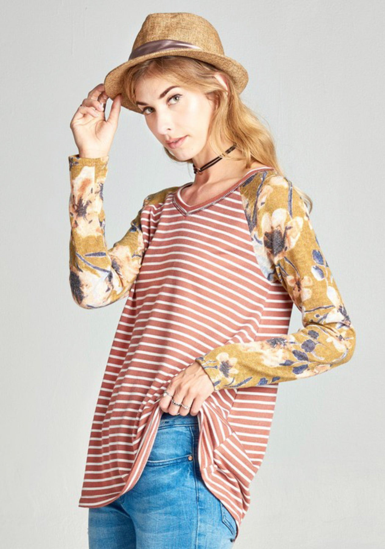 Rust Striped Top with Floral Sleeves