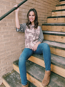 Mocha Tie Dye Relaxed Top with Striped Sleeve