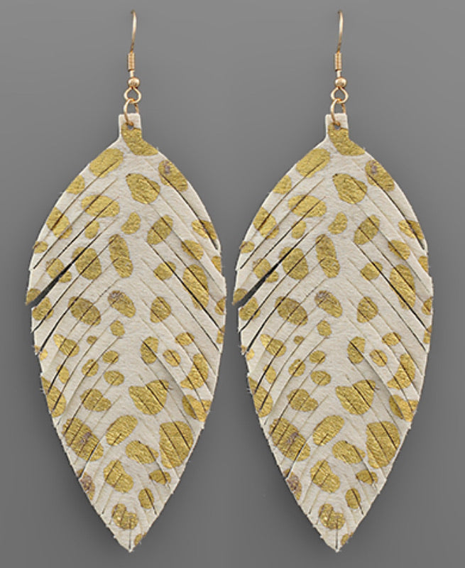 White/Gold Leather Feather Earrings